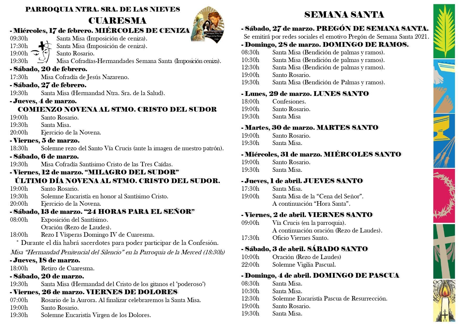 Programación de Semana Santa 2021 en Calpe - Ntra. Sra. de las Nieves